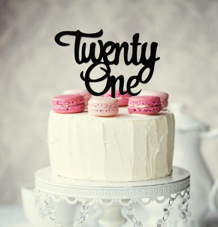Number TWENTY ONE Cake Topper (Black)
