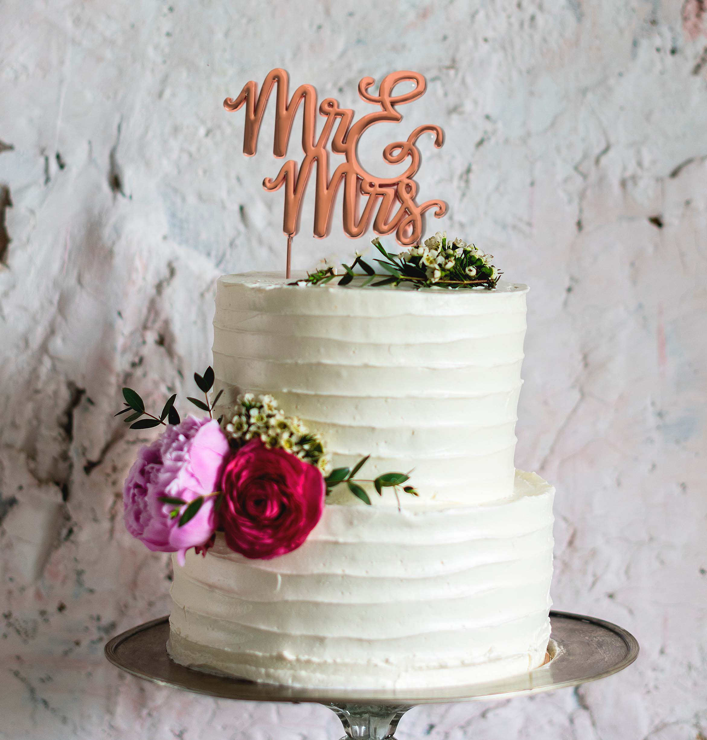 ROSE GOLD Plated Cake Topper - MR & MRS