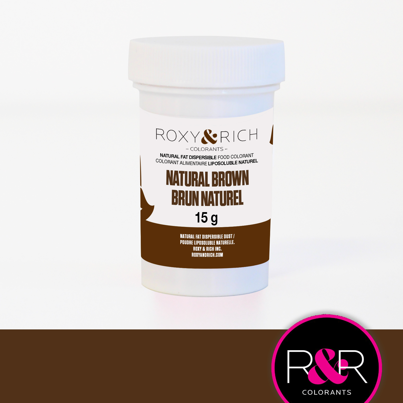 BROWN Fat Dispersible Natural Food Colouring 15g - ROXY & RICH  ** Best Before Date: January 2019**