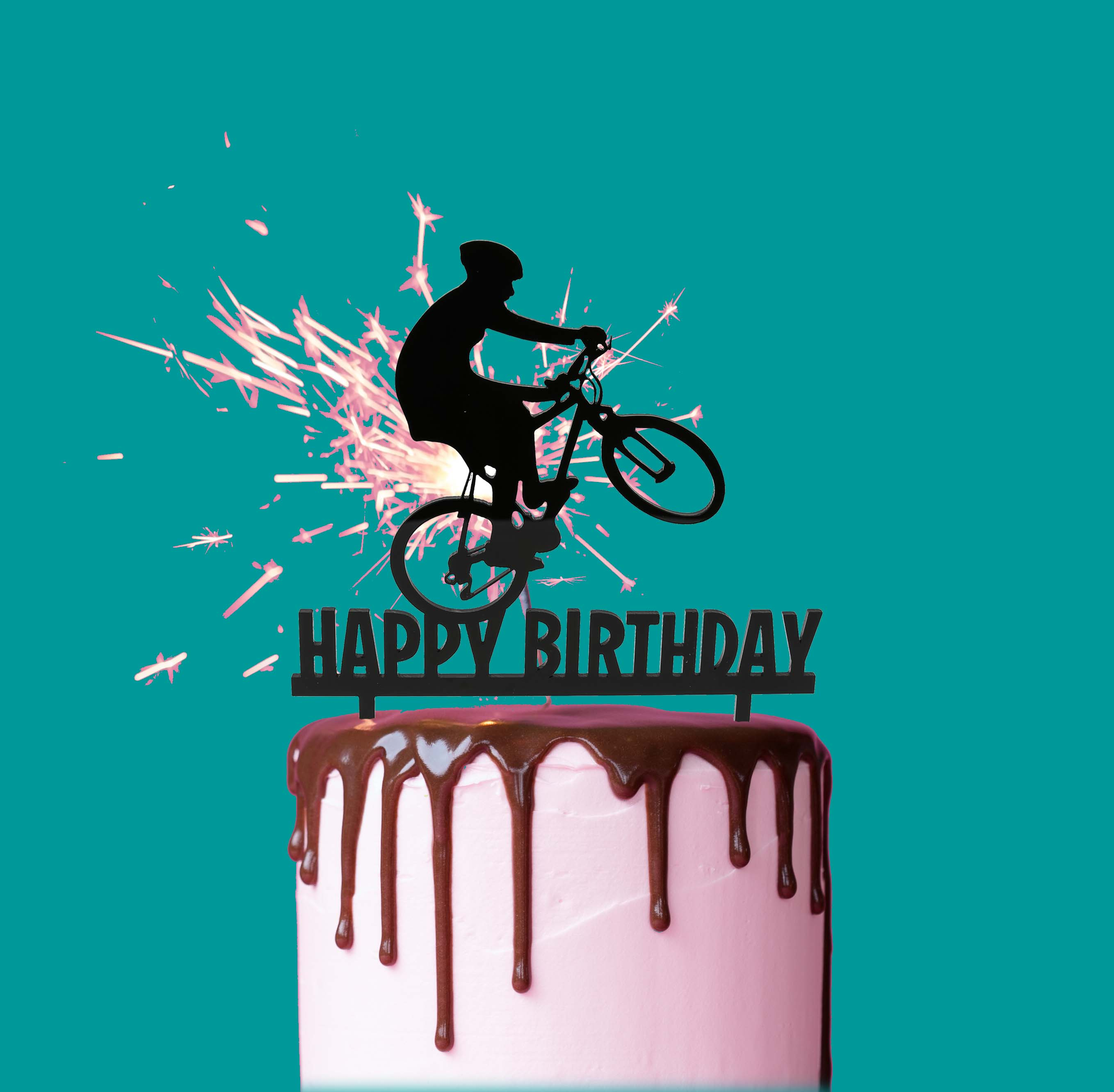 BIKE Happy Birthday Cake Topper (Black)