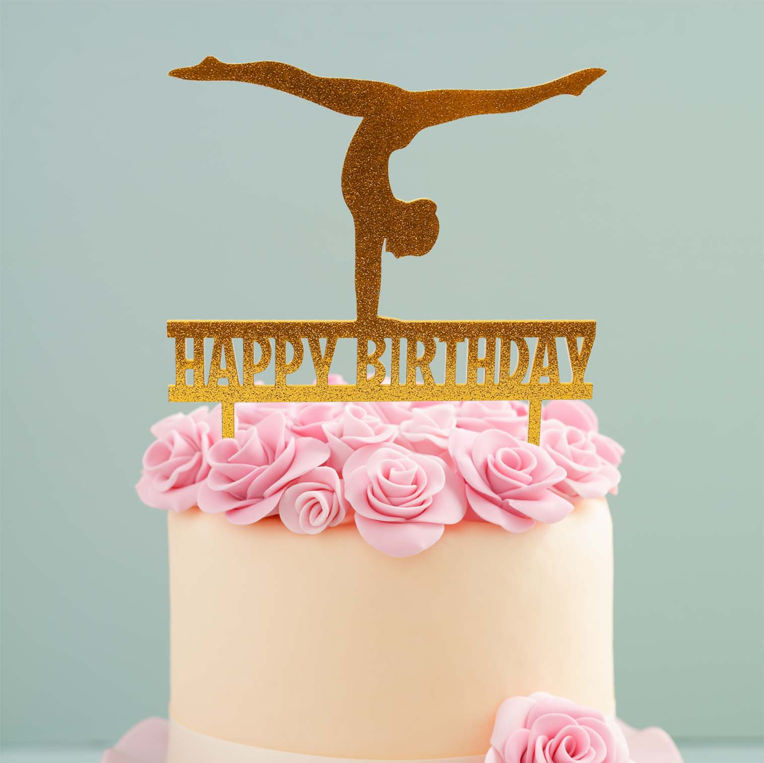 Fabulous Gymnast Cake Topper Gold Bake Group Personalised Birthday Cards Paralily Jamesorg