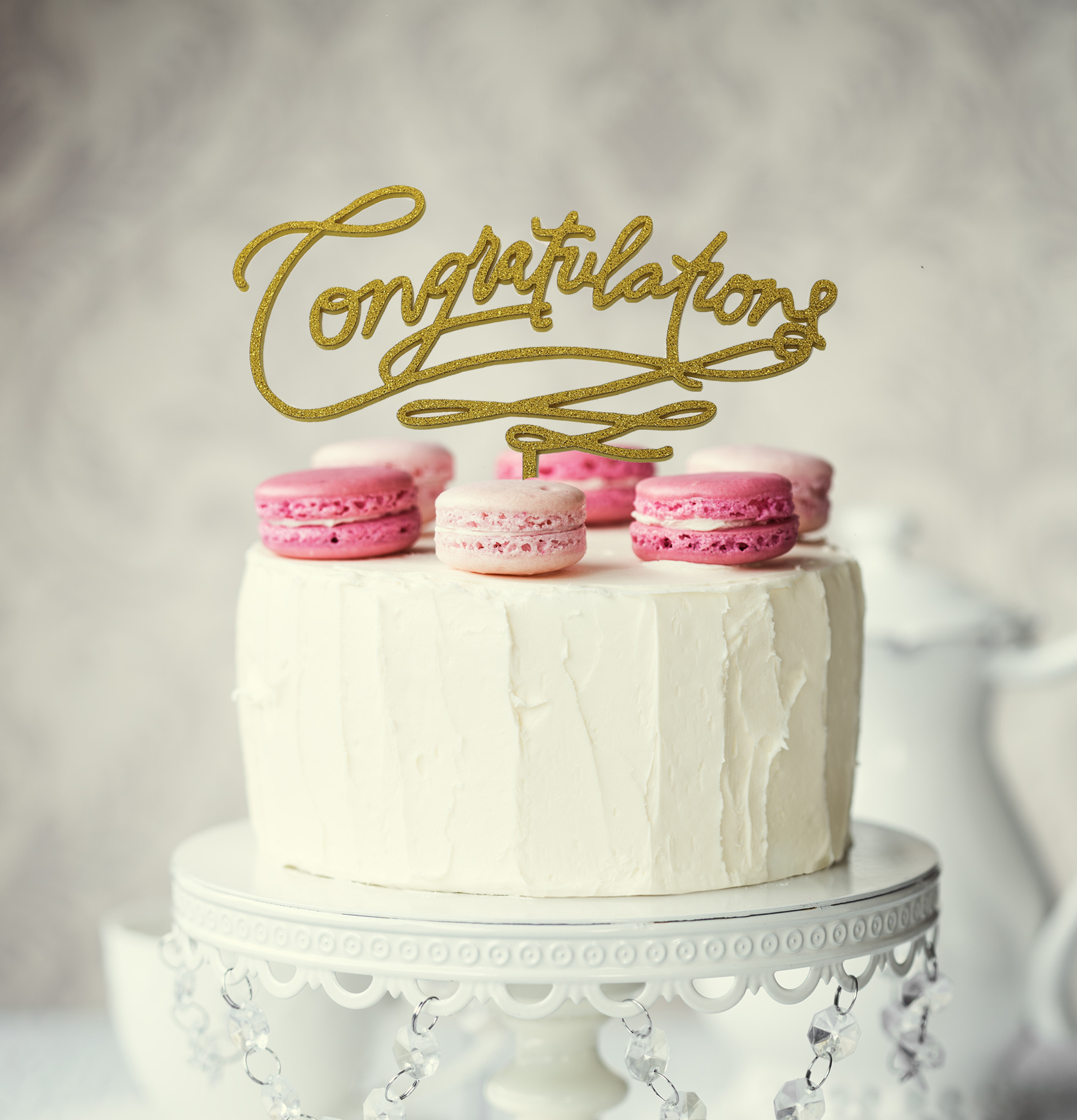 CONGRATULATIONS Cake Topper (Gold)