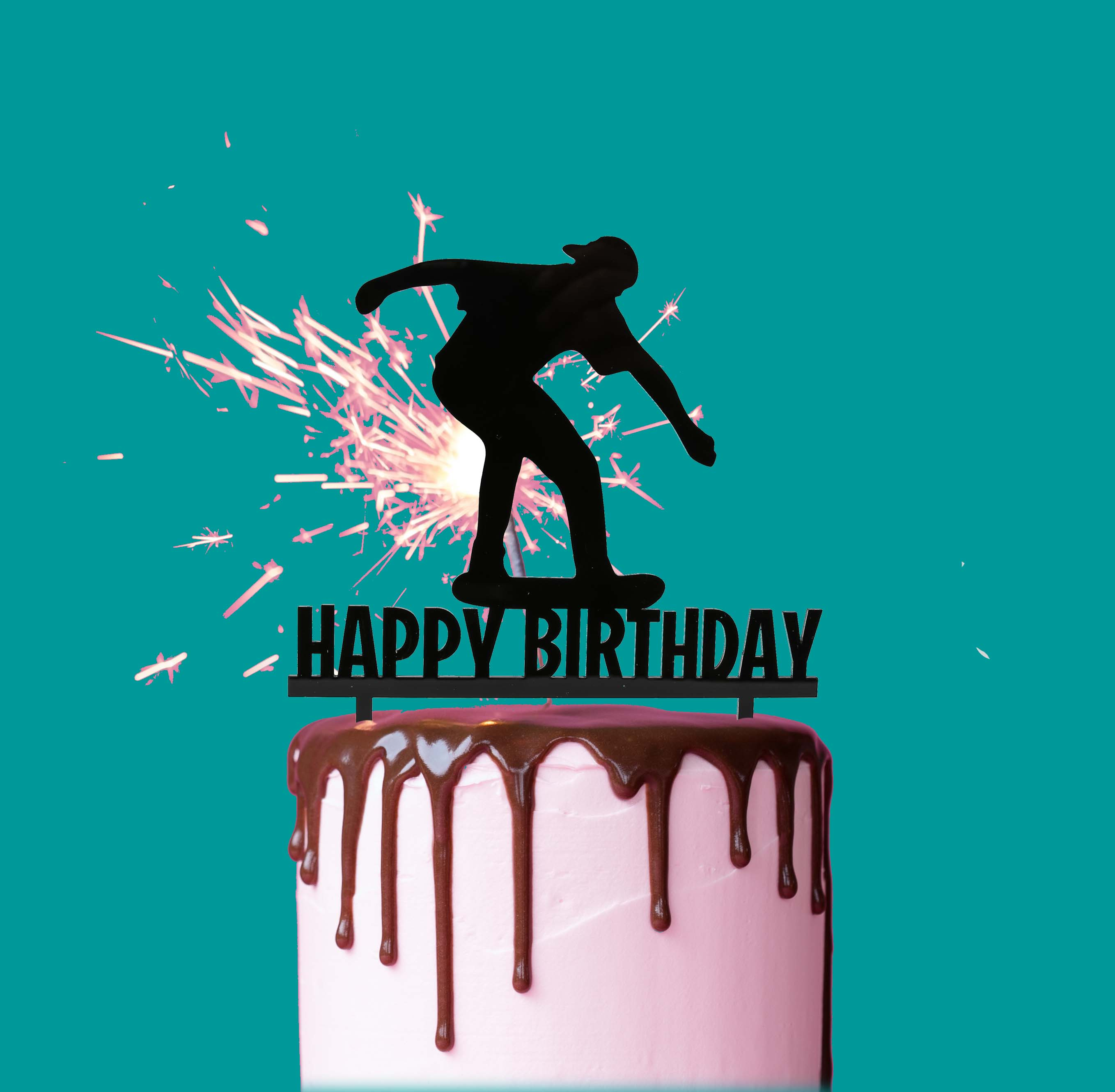 Remarkable Skater Happy Birthday Cake Topper Black Bake Group Funny Birthday Cards Online Elaedamsfinfo