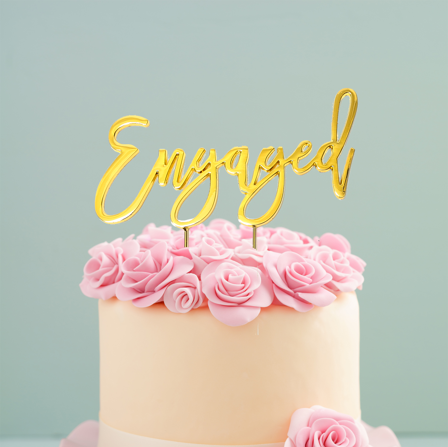 GOLD Plated Cake Topper - ENGAGED