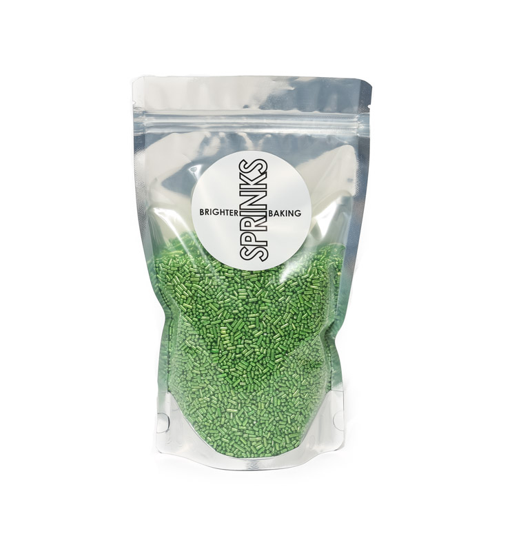 500g METALLIC GREEN Jimmies 1mm - by Sprinks