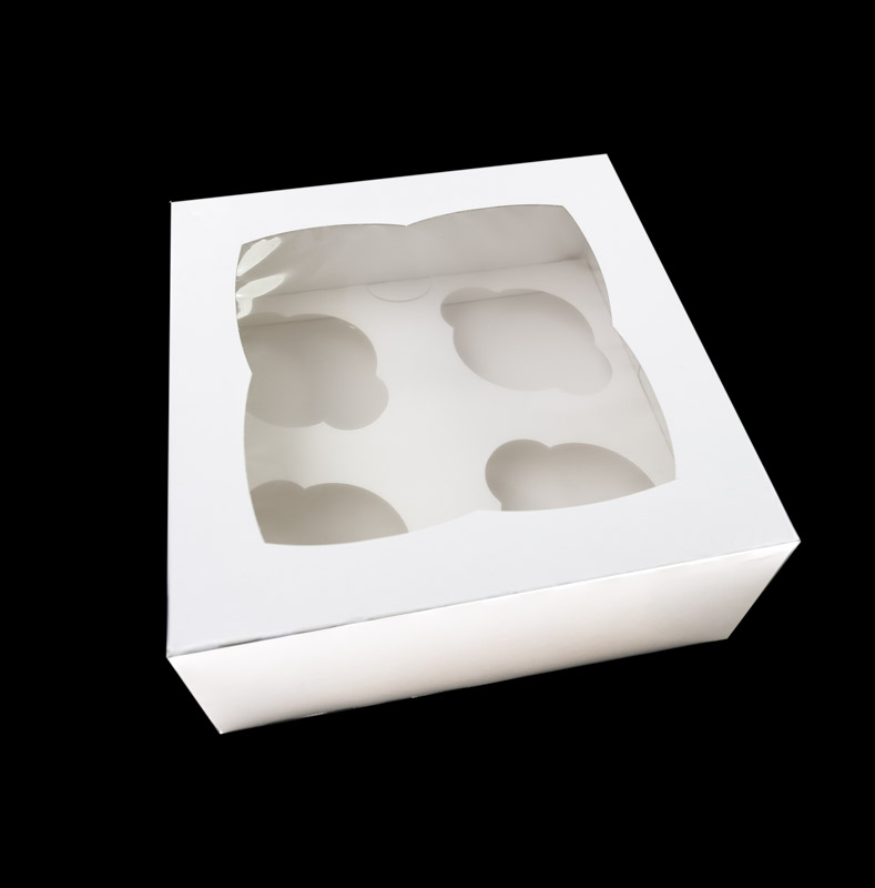 Cupcake Box with PVC Window (holds 4 cupcakes)