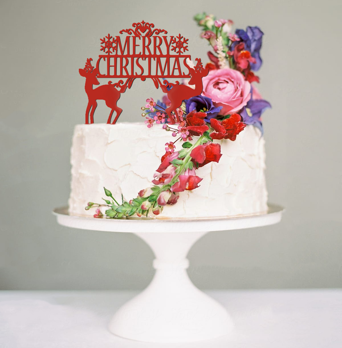 CHRISTMAS Acrylic Cake Topper - by Sugar Crafty