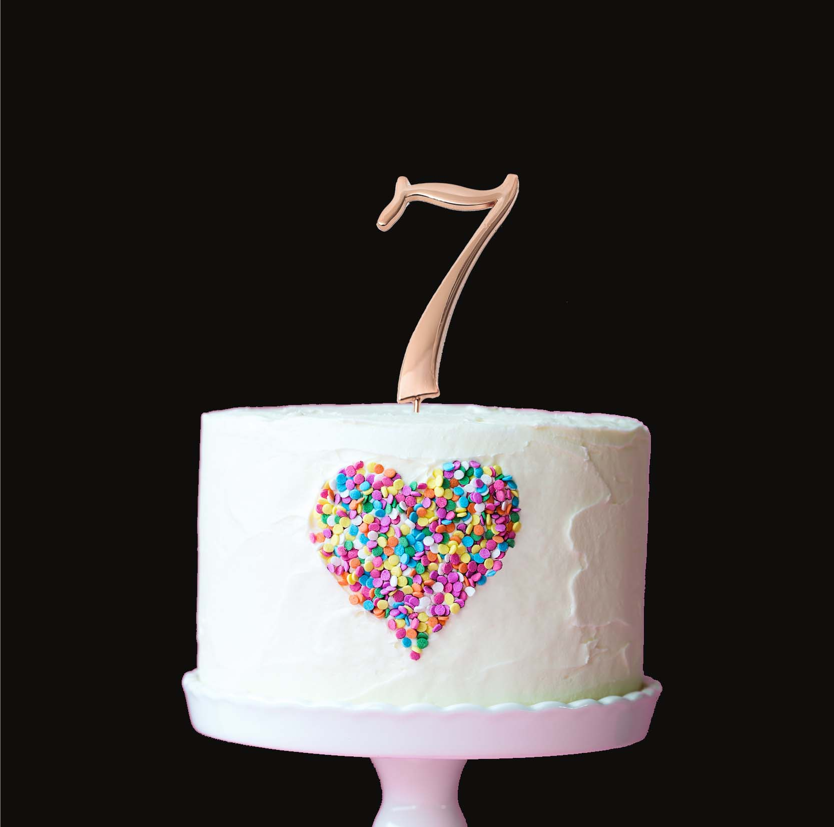 ROSE GOLD Cake Topper (7cm) - NUMBER 7