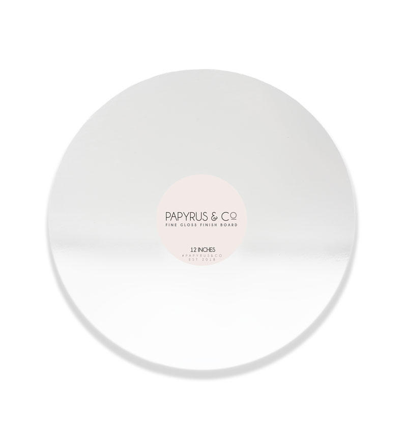 GLOSS WHITE 12 Round Masonite Cake Board