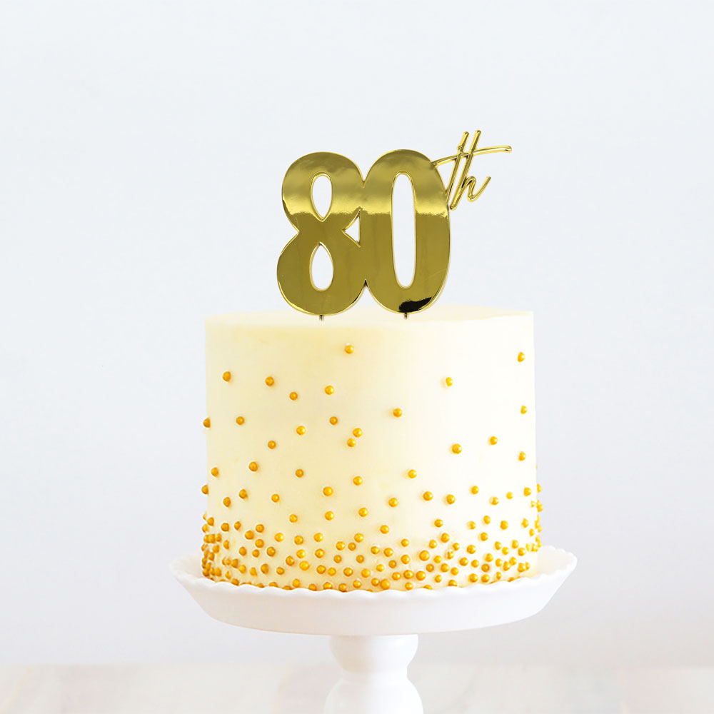 GOLD Metal Cake Topper - 80th