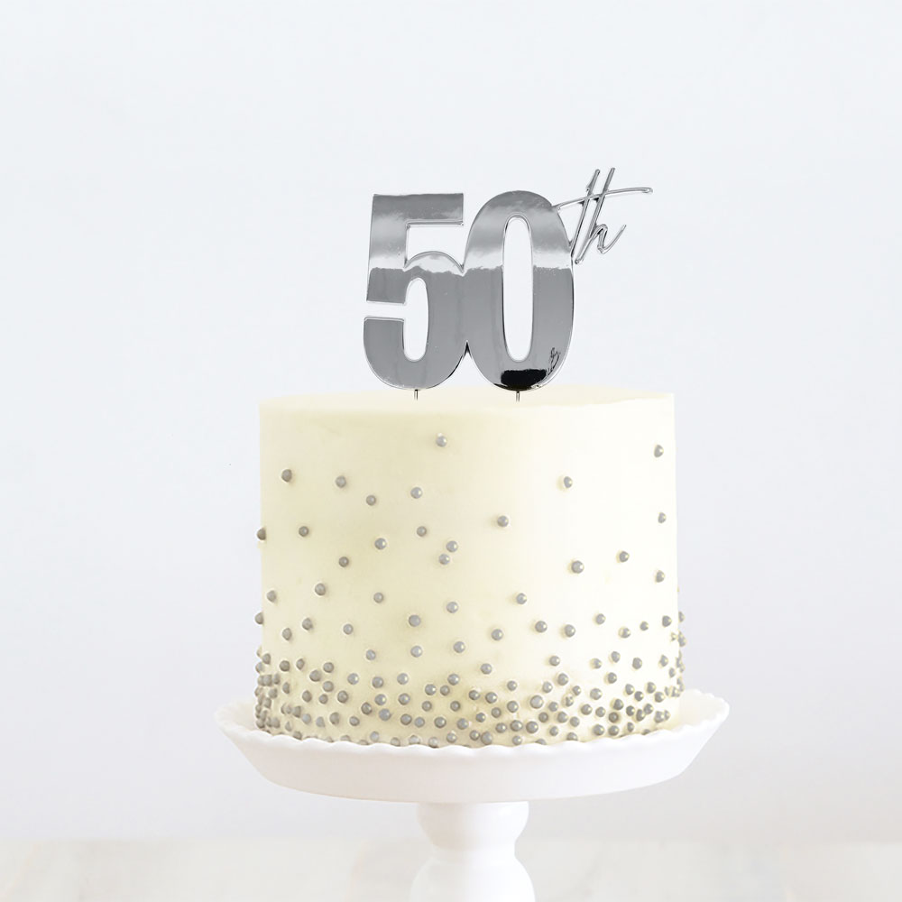 SILVER Metal Cake Topper - 50th