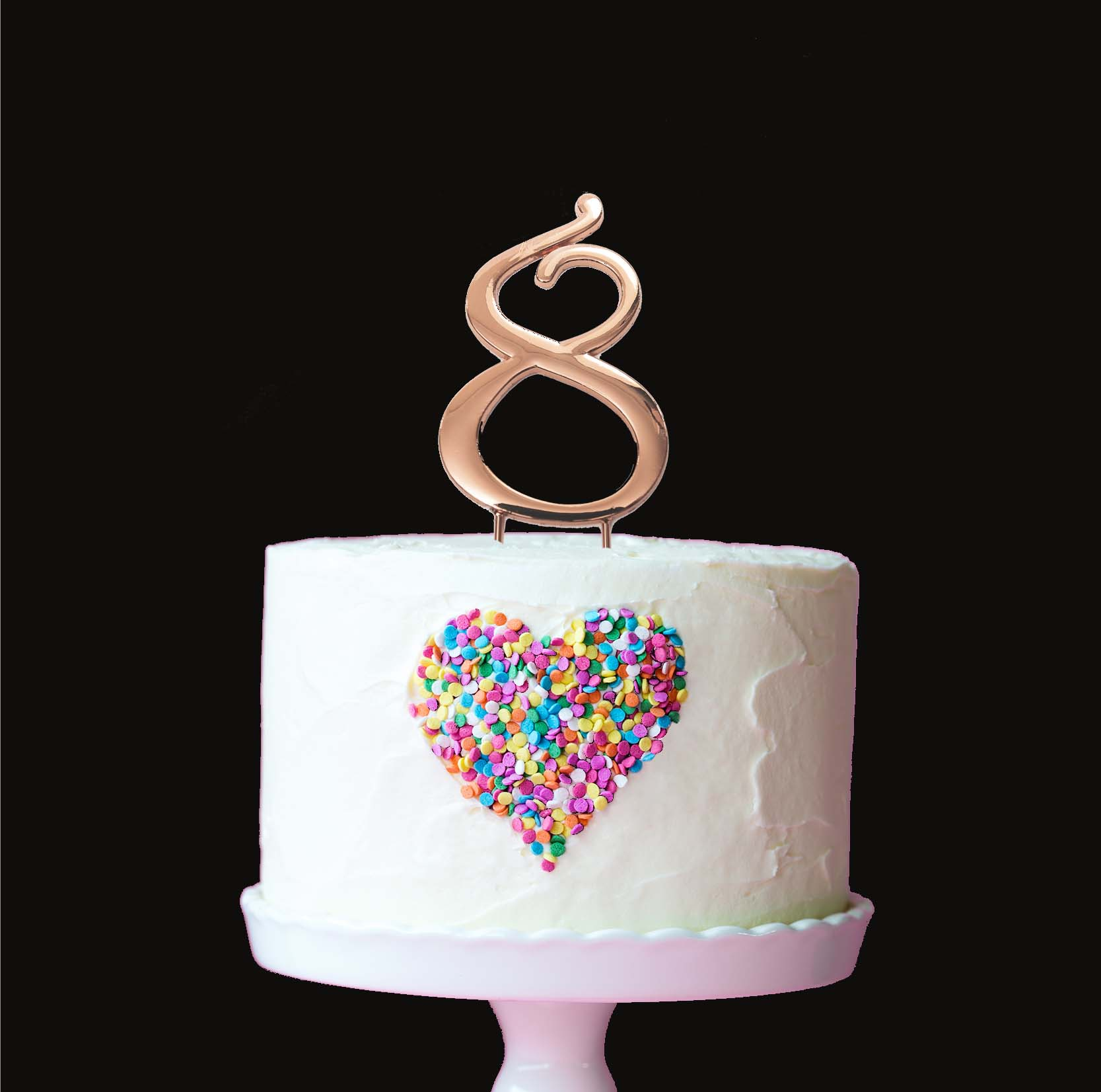 ROSE GOLD Cake Topper (7cm) - NUMBER 8