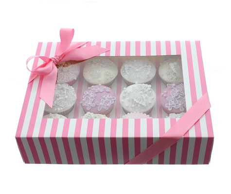 PINK & WHITE STRIPE Cupcake Box with PVC Window (holds 12 cupcakes)