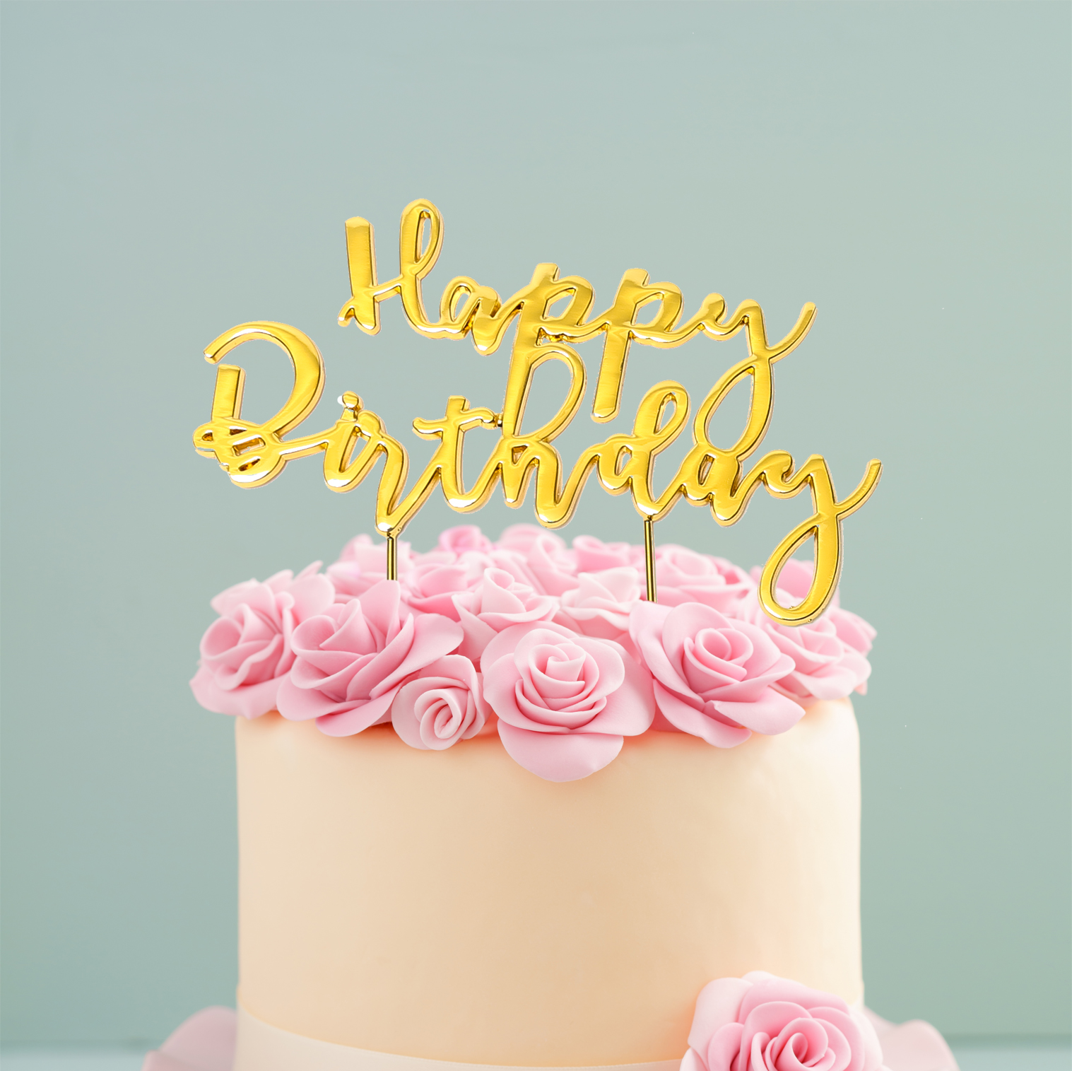 GOLD Plated Cake Topper - HAPPY BIRTHDAY 2