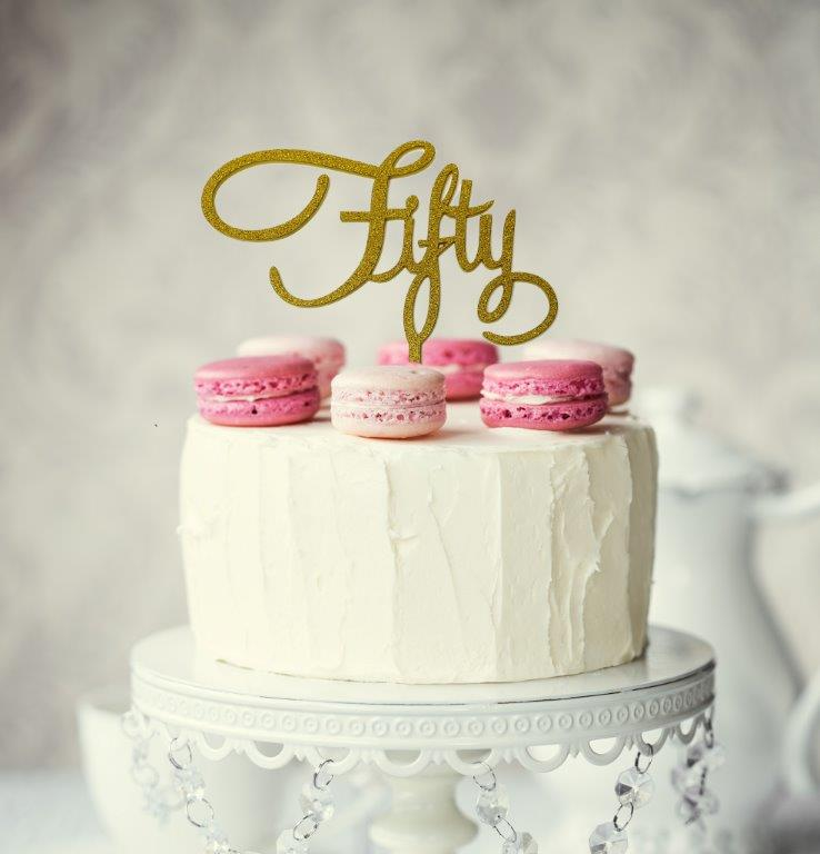Number FIFTY Cake Topper (Gold)