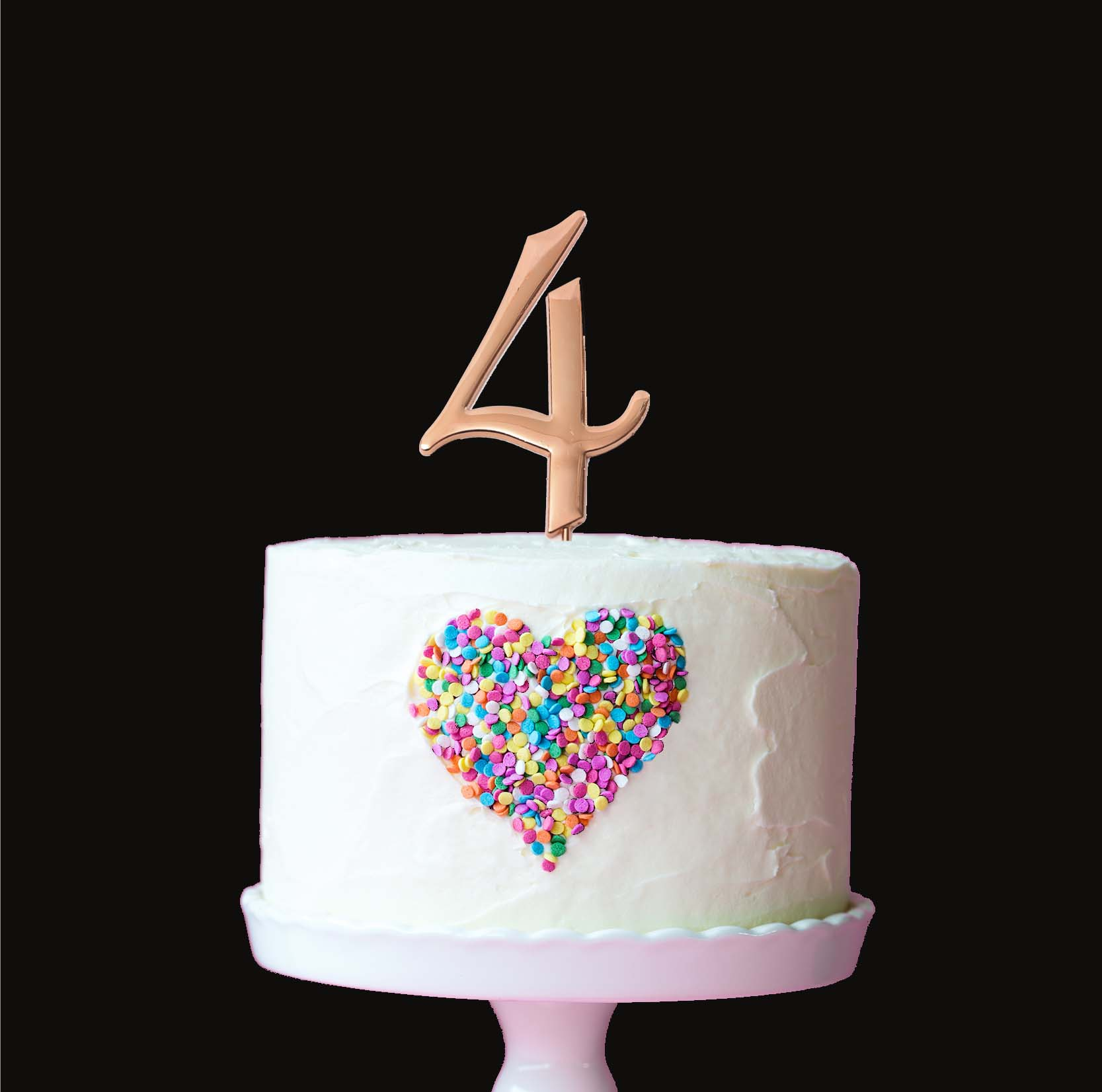 ROSE GOLD Cake Topper (7cm) - NUMBER 4
