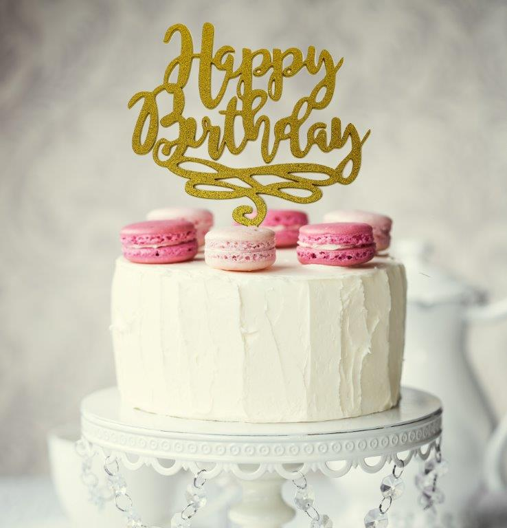 HAPPY BIRTHDAY Cake Topper (Gold)