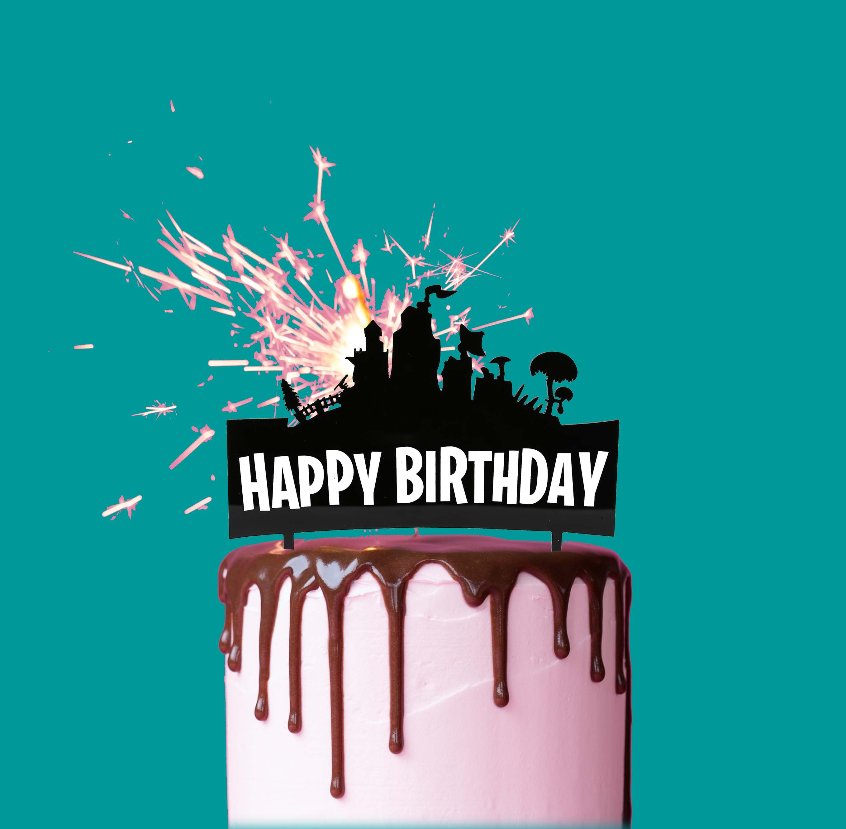 SKYLINE Happy Birthday Cake Topper (Black)