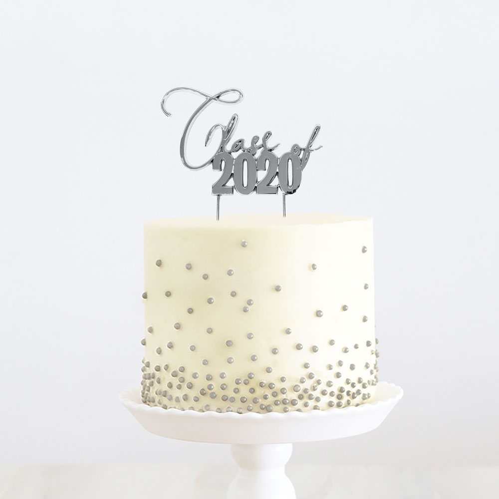 SILVER Metal Cake Topper - CLASS OF 2020