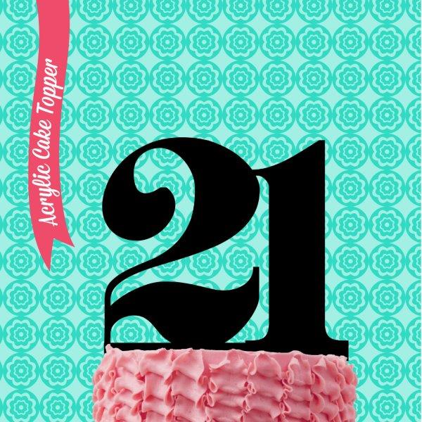 NUMBER 21 Acrylic Cake Topper - by Sugar Crafty