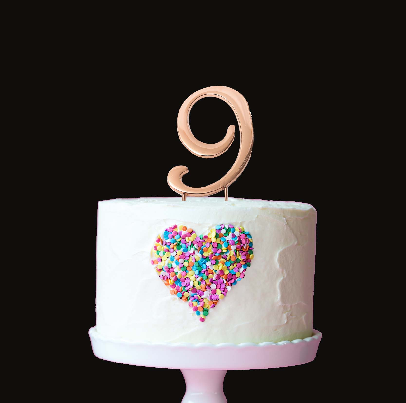 ROSE GOLD Cake Topper (7cm) - NUMBER 9