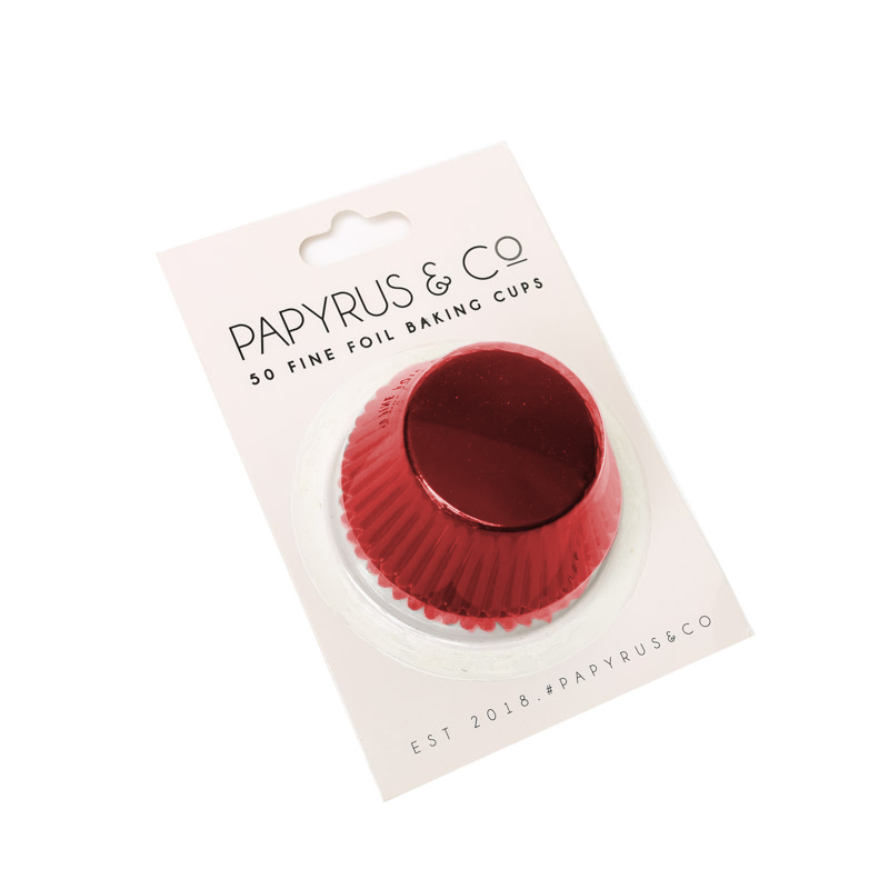 Medium RED Foil Baking Cups (50 pack) - 44mm Base