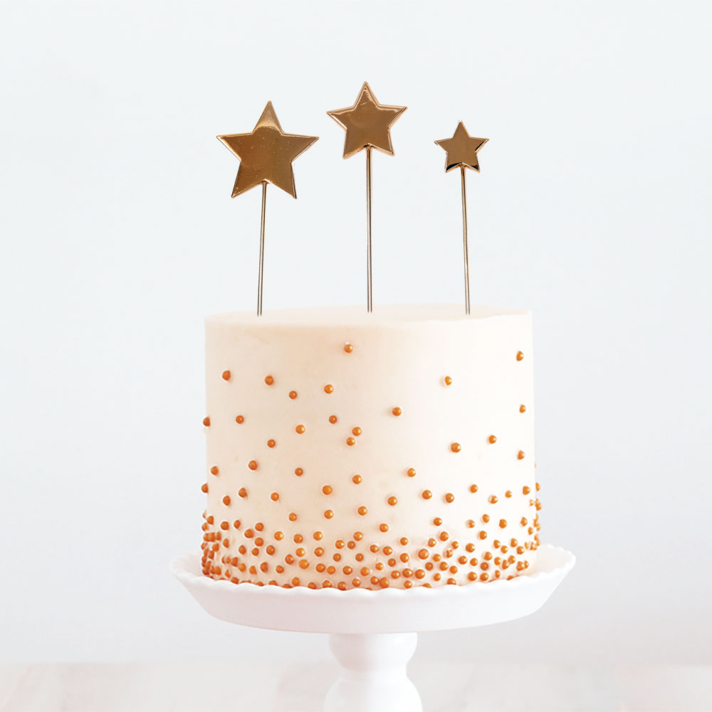 ROSE GOLD Metal Cake Topper - STARS