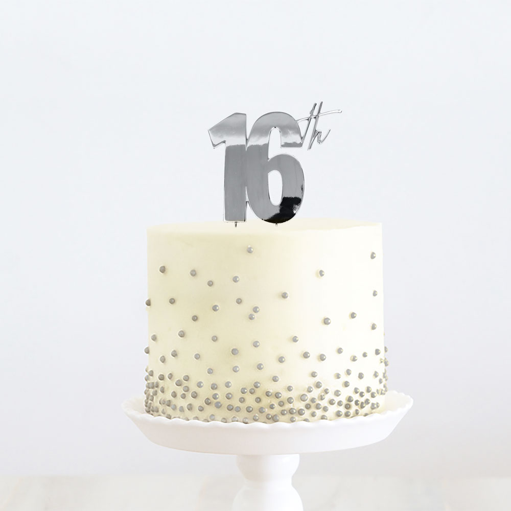 SILVER Metal Cake Topper - 16th