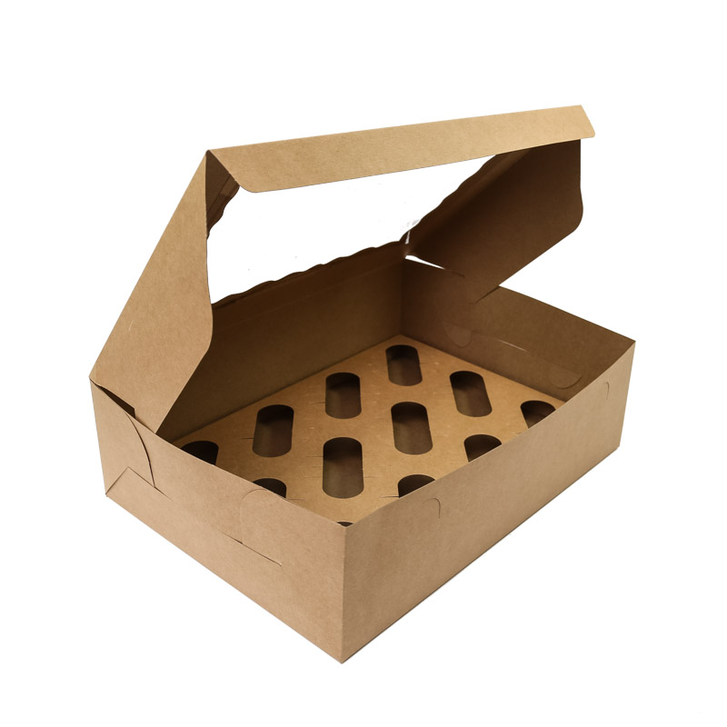 BROWN Cupcake Box with PVC Window (holds 12 cupcakes)