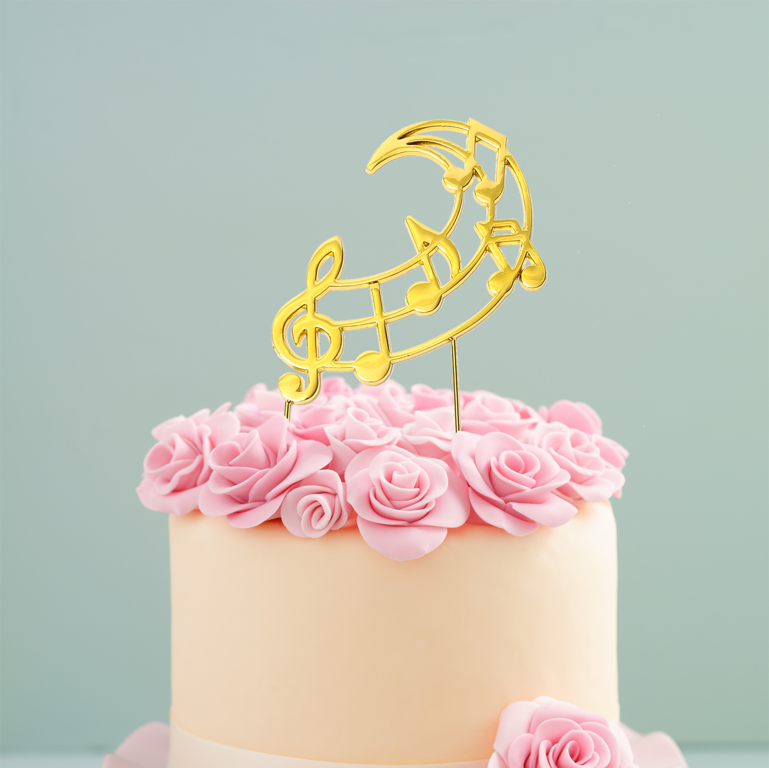 GOLD Plated Cake Topper - MUSIC NOTES
