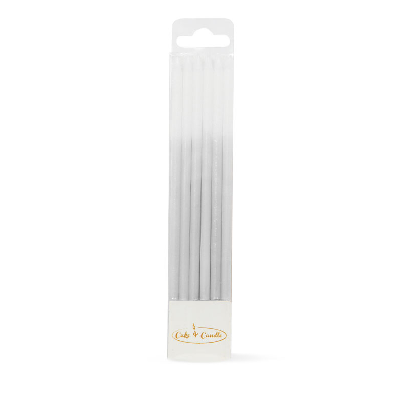 OMBRE Cake Candles SILVER (Pack of 12)
