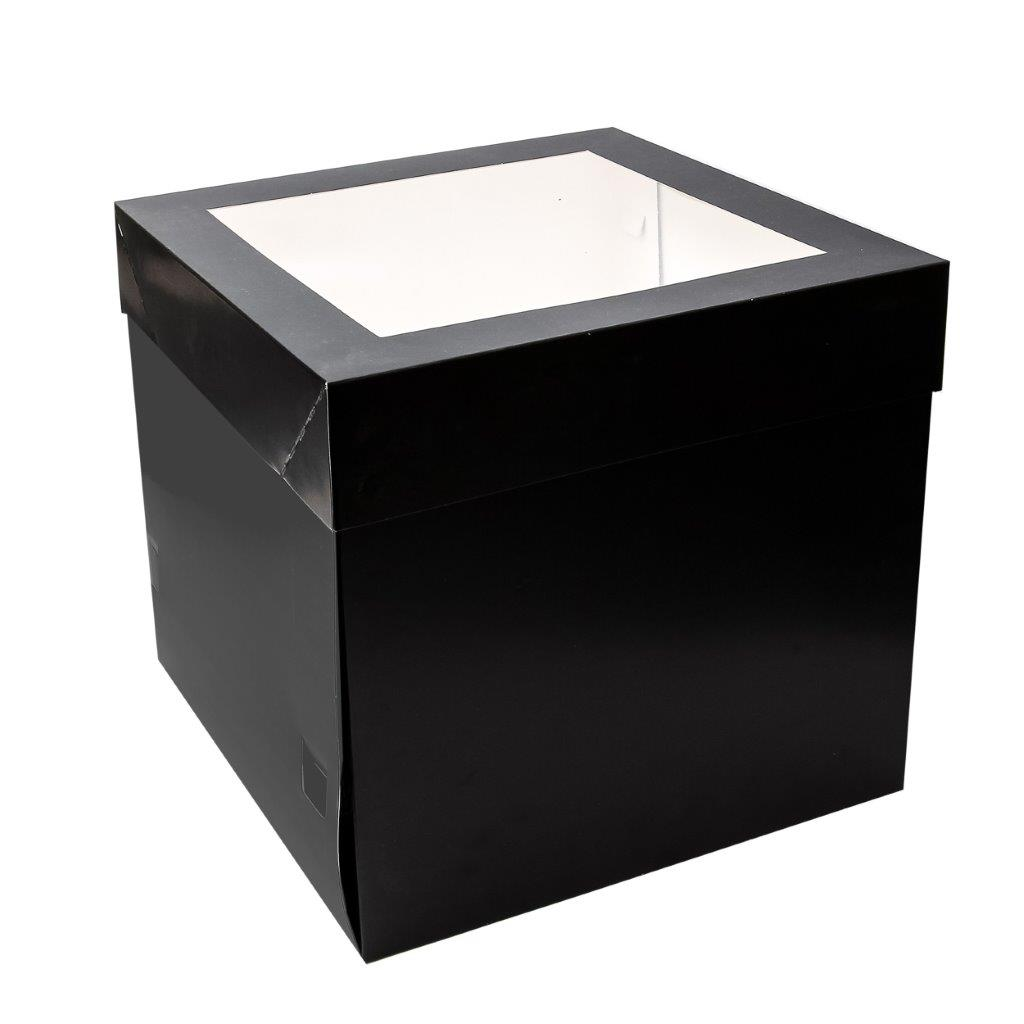 BLACK 25cm Tall Cake Box with Window 10 inch