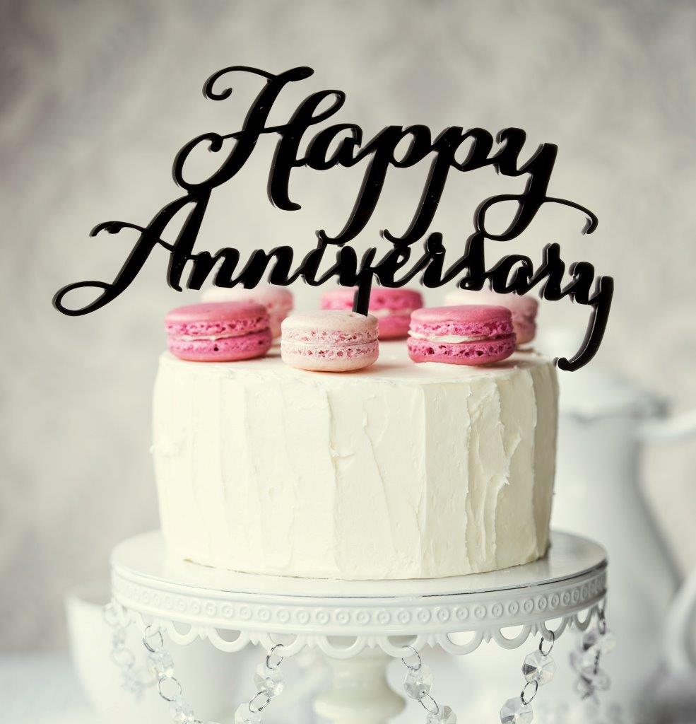 HAPPY ANNIVERSARY Cake Topper (Black)