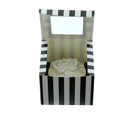BLACK & WHITE STRIPE Cupcake Box with PVC Window (Single)