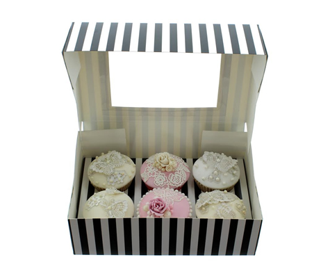 BLACK & WHITE STRIPE Cupcake Box with PVC Window (holds 6 cupcakes)