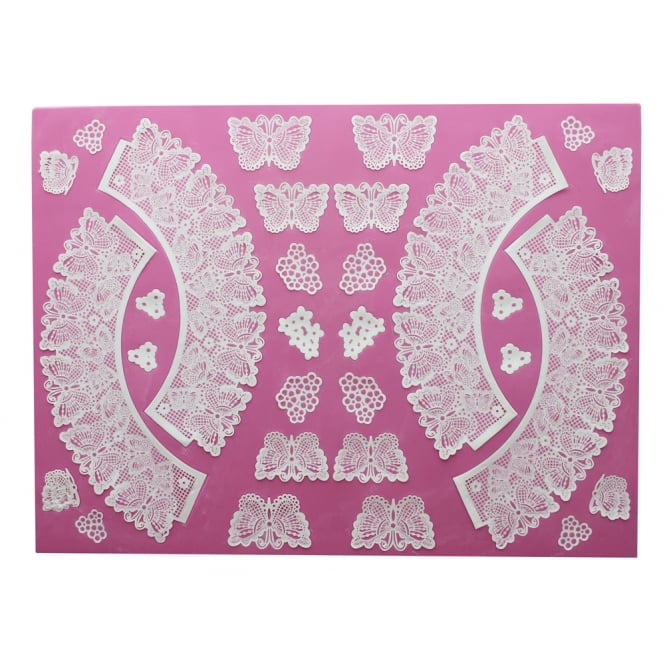 BUTTERFLIES CUPCAKE WRAPPER 3D Cake Lace Mat - by Claire Bowman
