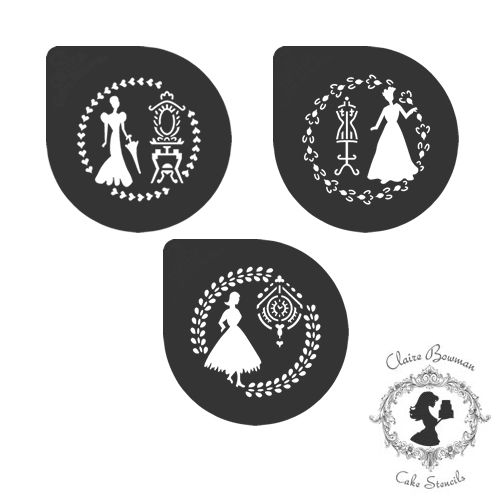 CLASSICAL LADIES (SET OF 3) Stencil - by Claire Bowman
