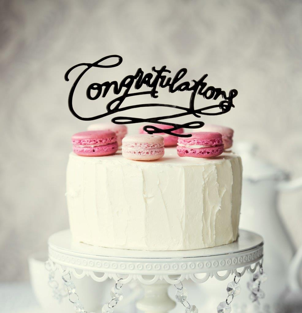 CONGRATULATIONS Cake Topper (Black)