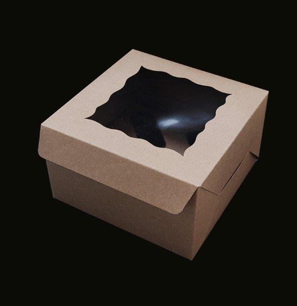 BROWN Cupcake Box with PVC Window (holds 4 cupcakes)