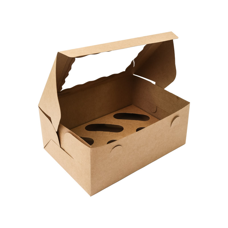 BROWN Cupcake Box with PVC Window (holds 6 cupcakes)