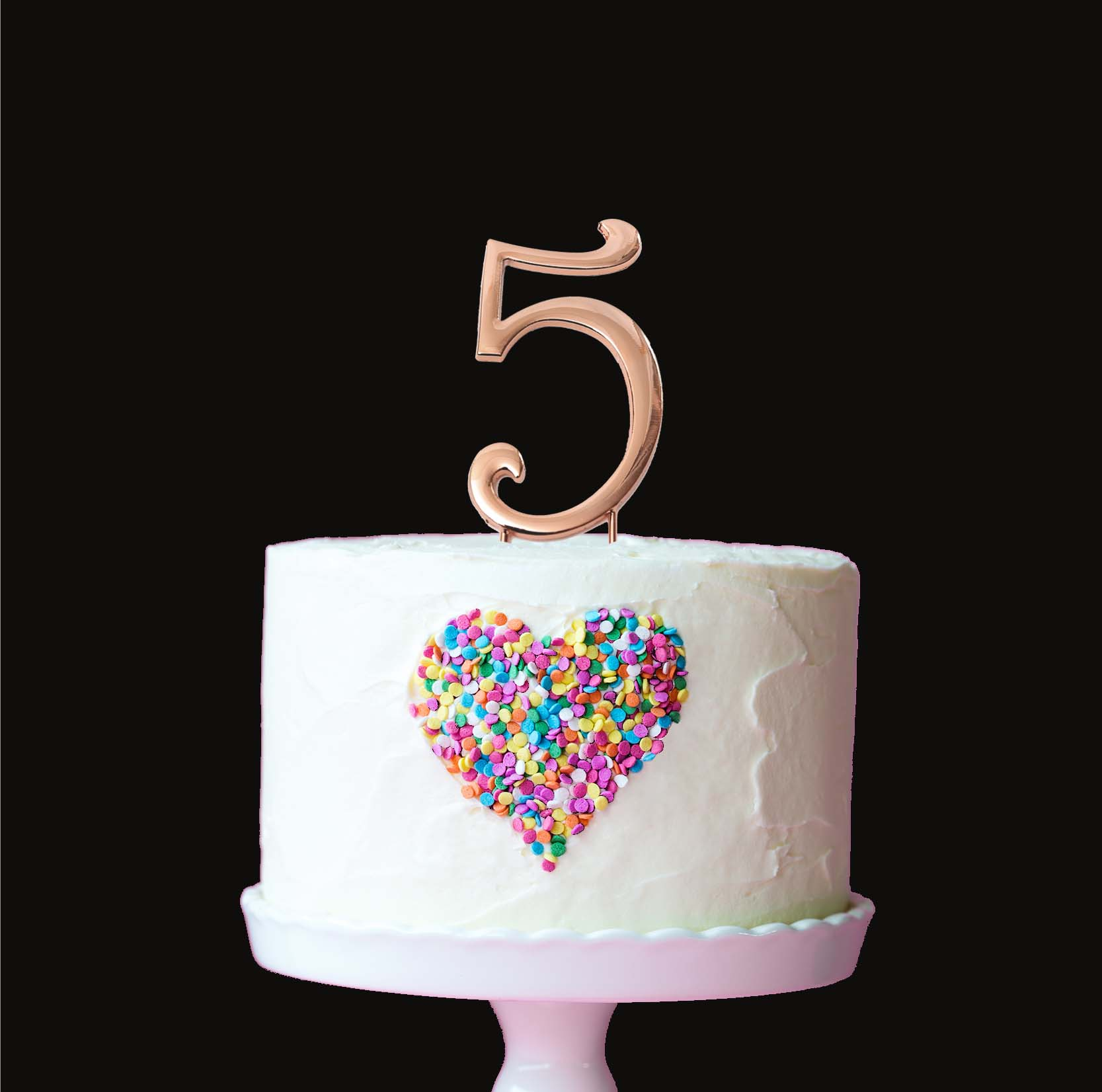 ROSE GOLD Cake Topper (7cm) - NUMBER 5