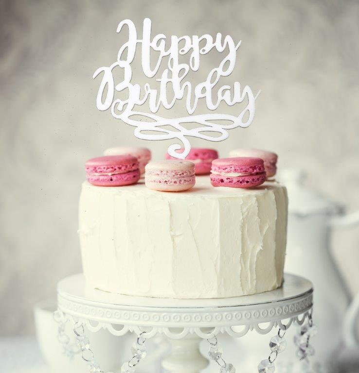 HAPPY BIRTHDAY Cake Topper (White)