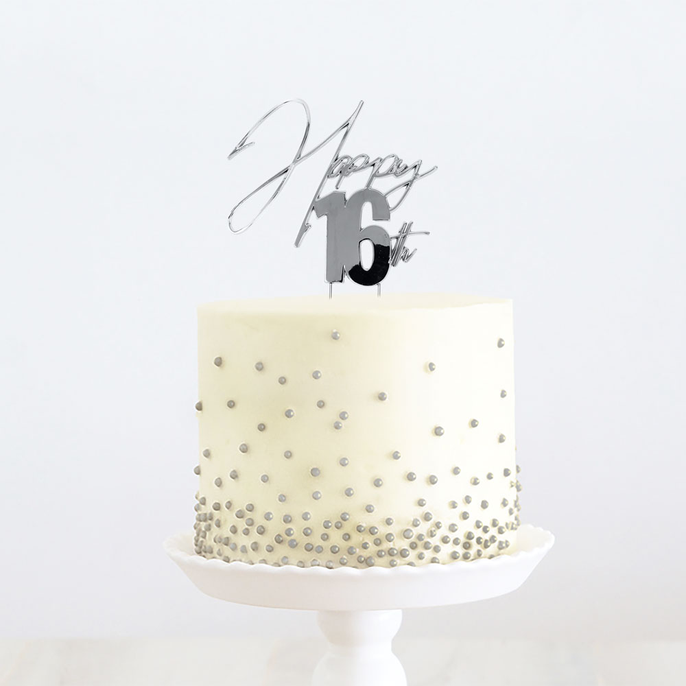 SILVER Metal Cake Topper - HAPPY 16th