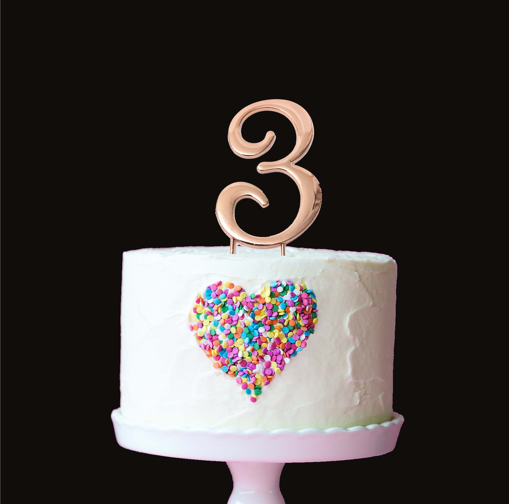 ROSE GOLD Cake Topper (7cm) - NUMBER 3