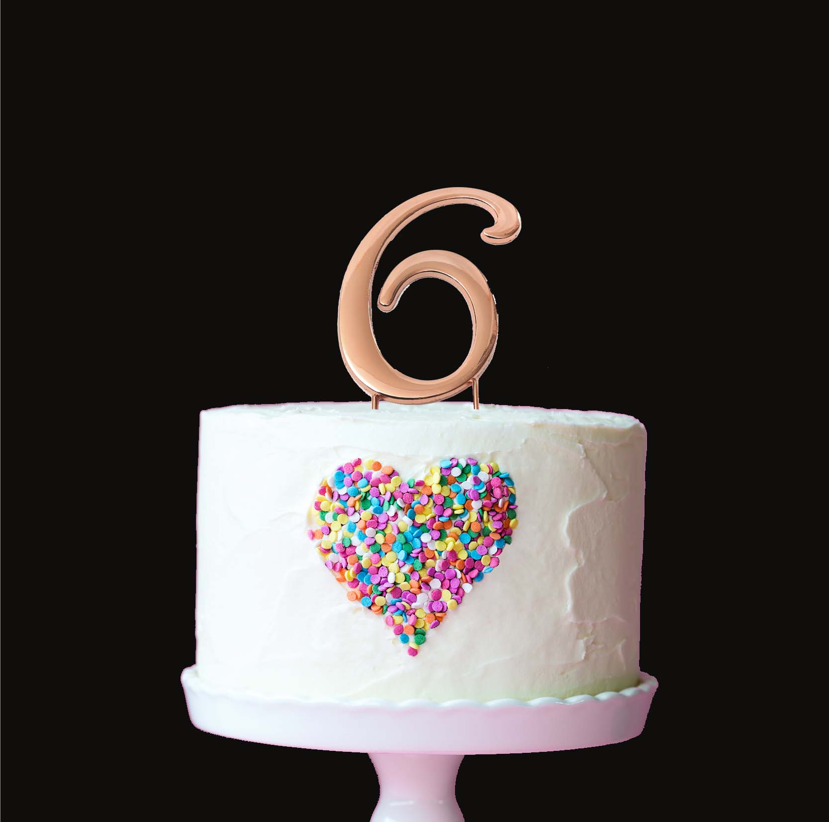 ROSE GOLD Cake Topper (7cm) - NUMBER 6