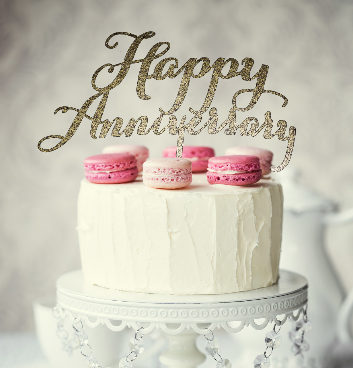 happy anniversary cake topper gold bake group