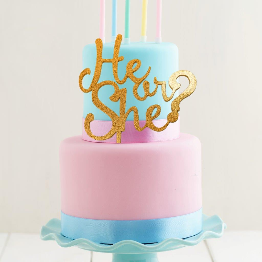 HE or SHE Cake Topper (Gold)