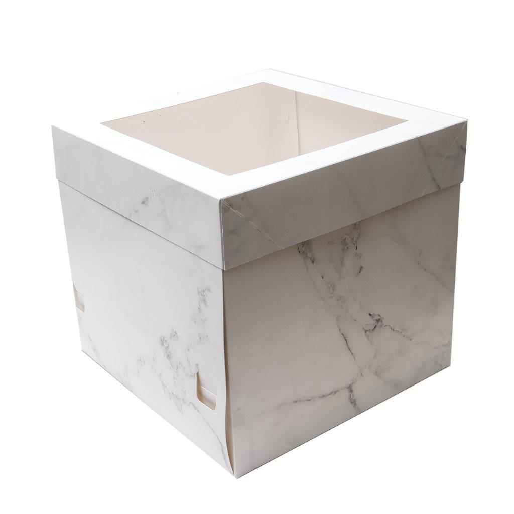 MARBLE 25cm Tall Cake Box with Window 10 inch