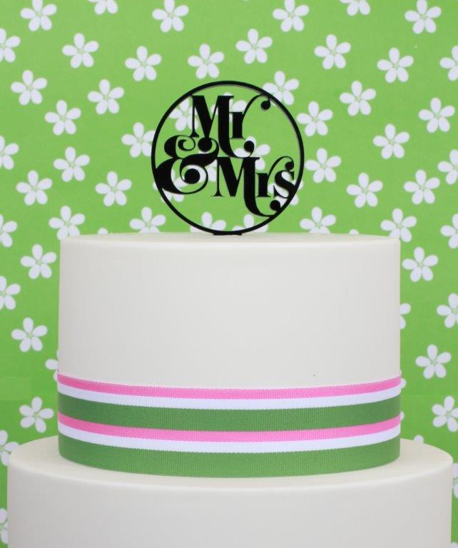 MR & MRS Acrylic Cake Topper - by Sugar Crafty