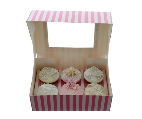 PINK & WHITE STRIPE Cupcake Box with PVC Window (holds 6 cupcakes)